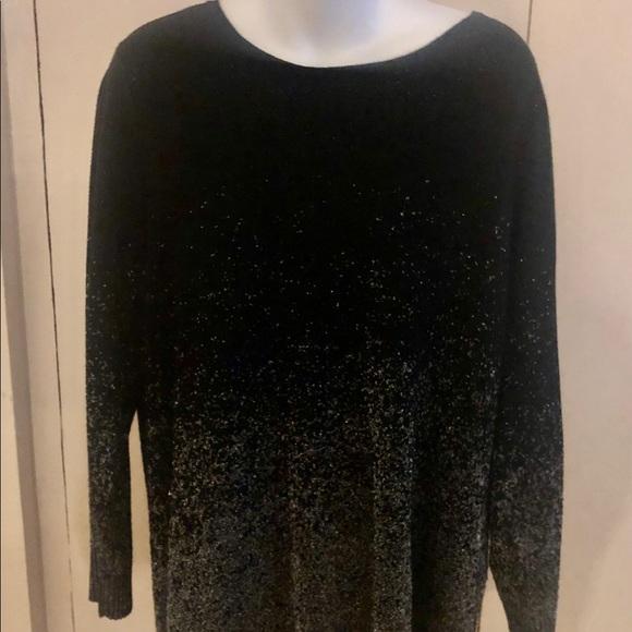 Avenue Tops - Avenue Black Sparkle Blouse Shirt Top Plus  18/20